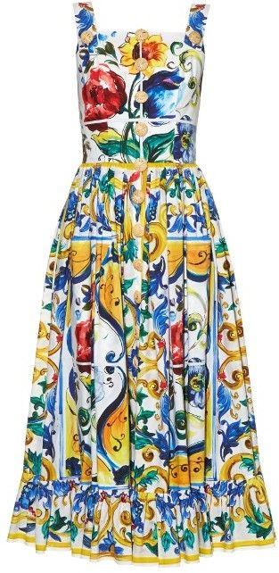 DOLCE & GABBANA Majolica-print frilled-hem dress