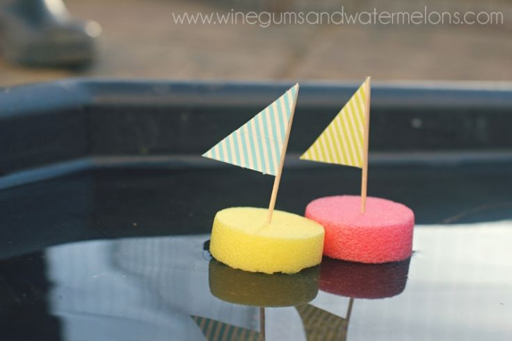 Easy 5 minute sailboat craft for children. The boats are made using just pool noodles, toothpicks and paper.