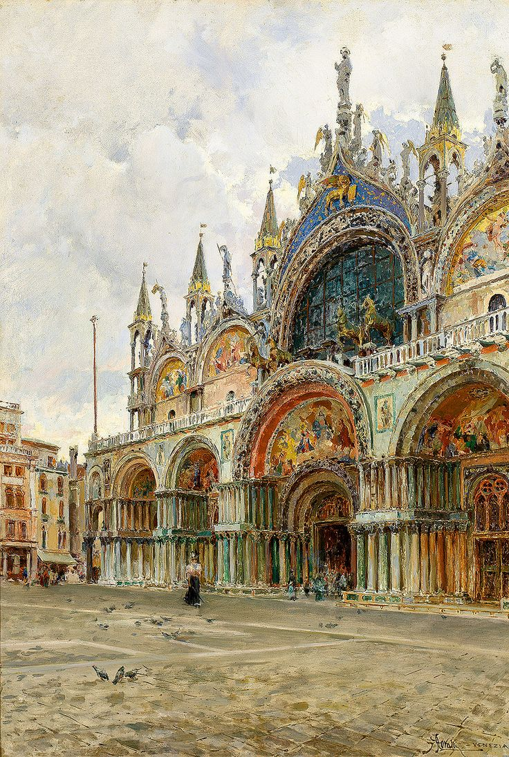Venezia - Giuseppe Marastoni, 19th Century. The Basilica, St Mark's Square, Venice.