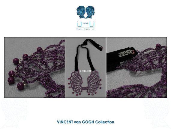 Κ-100.001-Wire crochet necklace with enameled by LiandLiCrochet