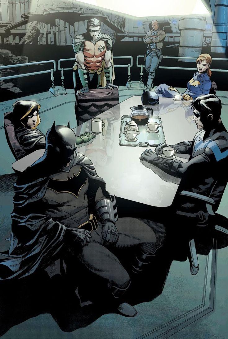 Batman. Bruce Wayne. Robin. Damian Wayne. Nightwing. Dick Grayson. Red Hood. Jason Todd. Red Robin. Tim Drake. Batgirl. Barbara Gordon.