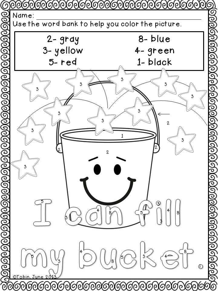 Bucket Filling- Coloring sheet for back to school