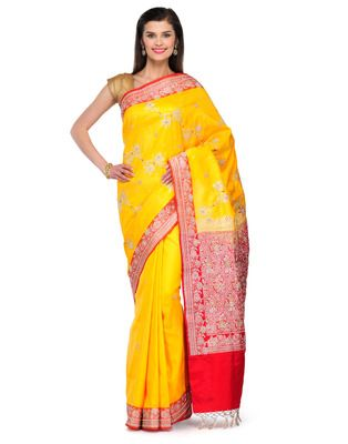 yellow Jardozi embroidery satin Hand woven saree with blouse 60% Off Buy now @ Rs 8888