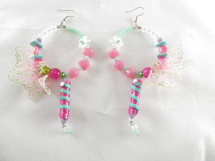 Handmade lace earrings (1 pair)  Made with handmade beads with fiber and crystals, lace, glass beads, semiprecious stones and antiallergic hangings.