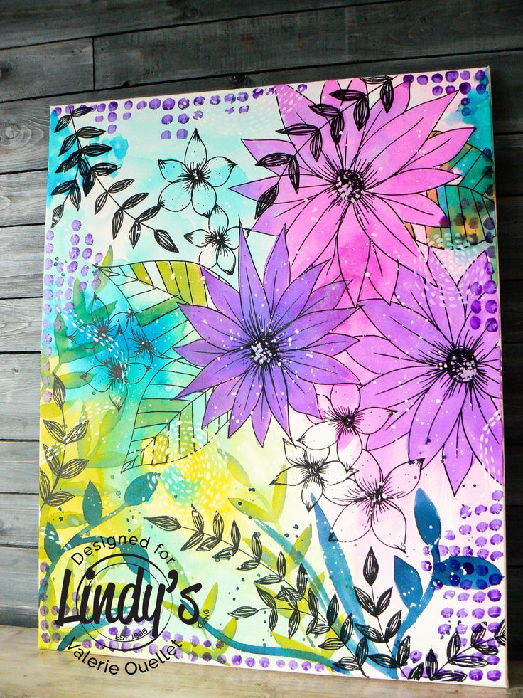 Mixed Media Canvas with Lindy's Stamp Gang Spray