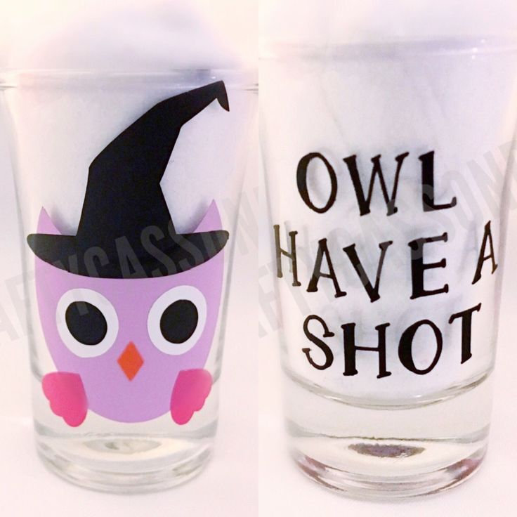 Adorable halloween owl shot glass . Shotglasses . Cute barware . Gifts for her. Adult gift . Funny 21st birthday . Glassware . Handmade by CraftyCassondra on Etsy https://www.etsy.com/listing/466752800/adorable-halloween-owl-shot-glass