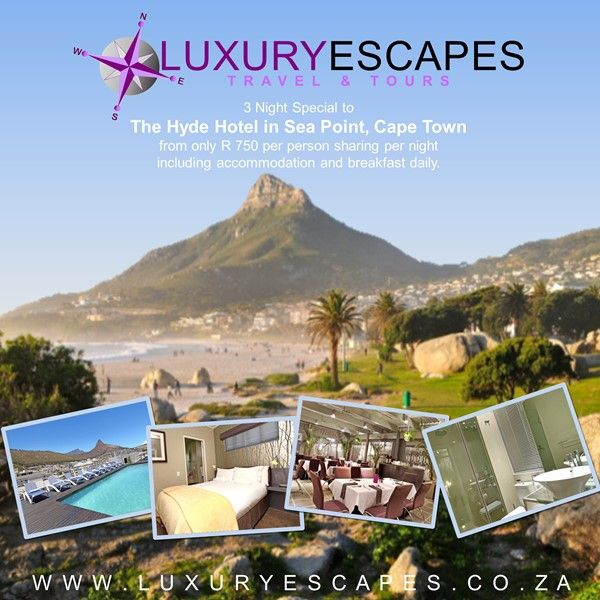 3 Night Special to The Hyde Hotel in Sea Point, Cape Town from only R 750 per person sharing per night including accommodation and breakfast daily. To book visit www.luxuryescapes.co.za.