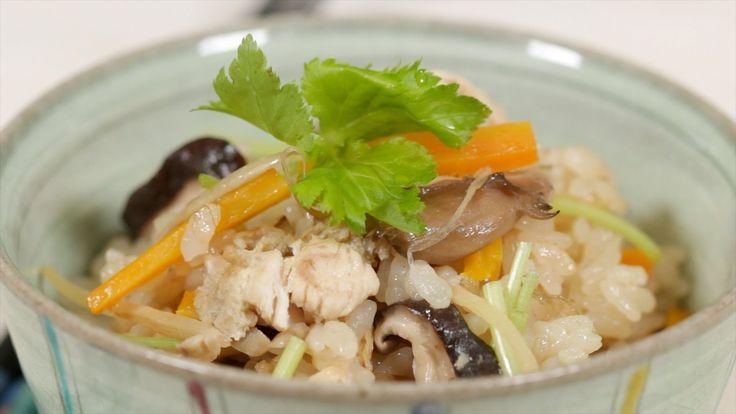 cooking with dog's chicken mushroom takikomi gohan, with shiitake ...