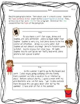 Main Idea and Supporting Details Worksheet by A and L Kreations | Teachers Pay Teachers