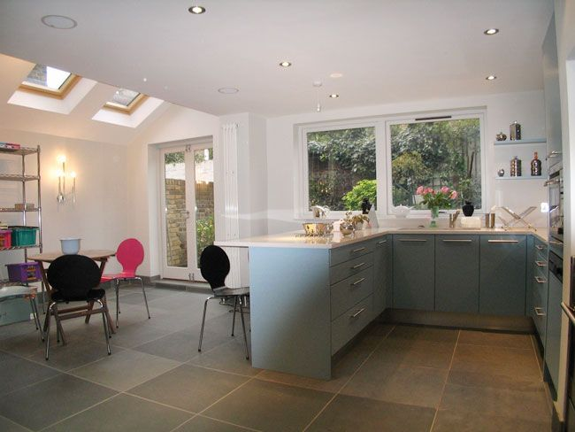 Kitchen extension - cabinets to create space divider