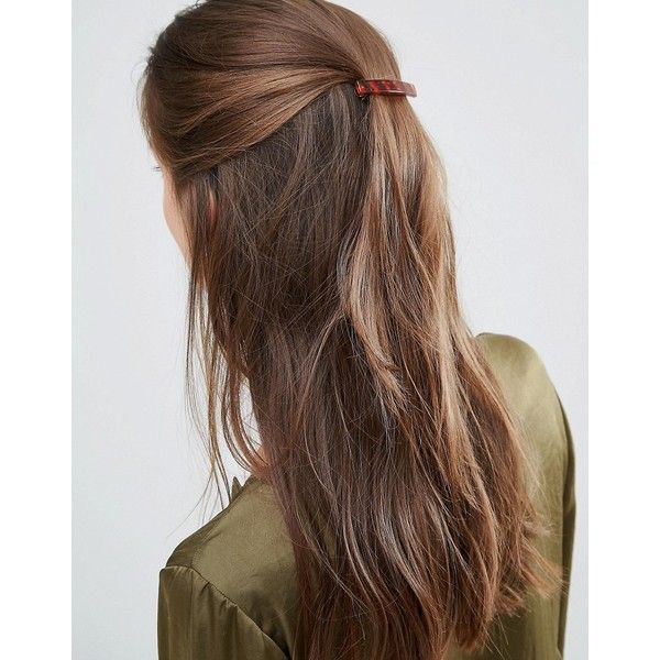 DesignB London Tortoiseshell Minimal Hair Clip ($3.39) ❤ liked on Polyvore featuring hair, hair styles and brown