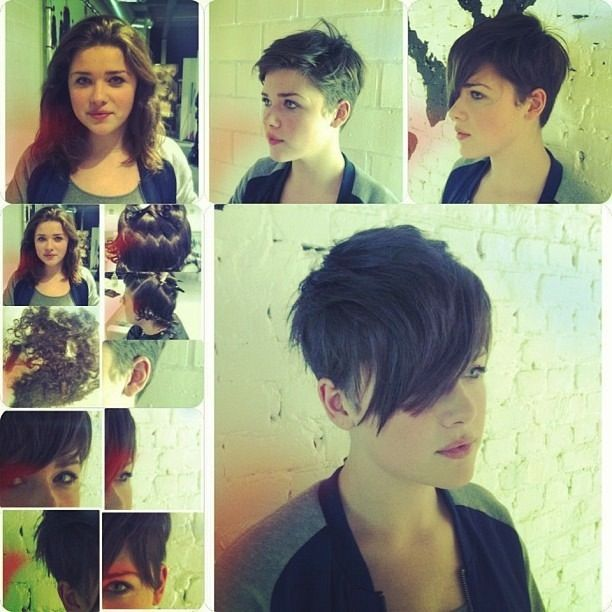 before and after-long hair to pixie!