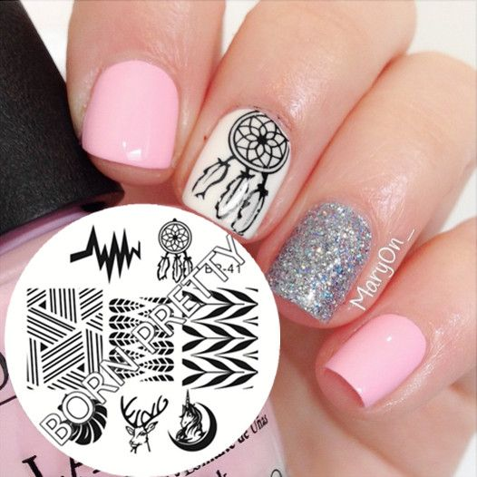 $2.99 Ethnic Style Dream Catcher Pattern Nail Art Stamping Template Image  Plate BORN PRETTY BP41 - - 25+ Unique Dream Catcher Nails Ideas On Pinterest Feather Nail
