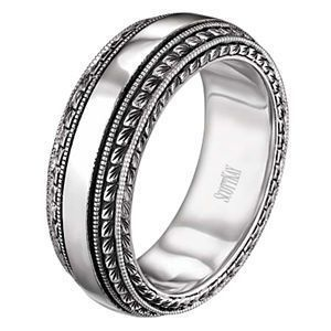 This striking mens wedding band comes from the Vintage Collection by Scott Kay.  The Scott Kay ring is shown in 14 karat white gold and features engraved detailing.  It is 8mm wide.