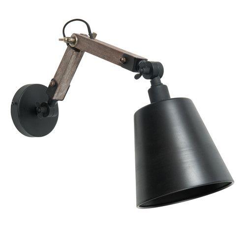 Applique indus en bois et métal noire H 15 cm EDISON