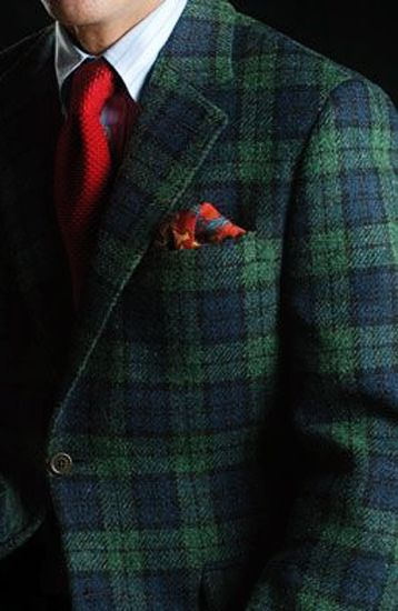 Black Watch Jacket, red tie and square