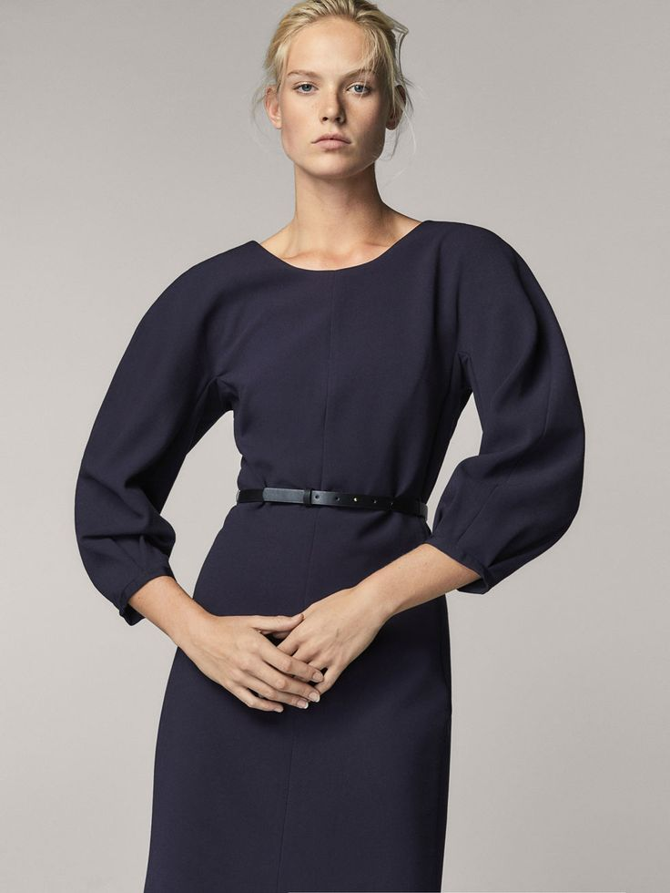 NAVY BLUE DRESS WITH BALLOON SLEEVES - Women - Massimo Dutti