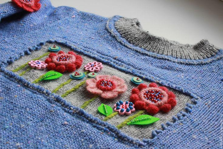 """Купить Свитерок """"Полянка"""" - пуловер для девочки, детский свитер, твид, красивый свитер"""