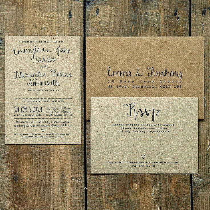 calligraphy kraft wedding invitation by feel good wedding invitations | notonthehighstreet.com