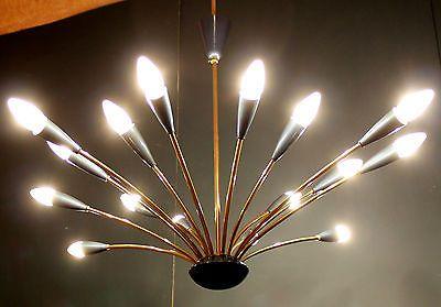 16 LIGHTS SPUTNIK BLUE SPIDER CEILING LAMP CHANDELIER STILNOVO 1950S MID CENTURY