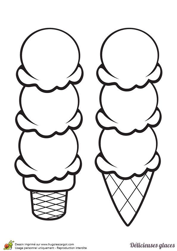 Dessin De Trois Boules De Glaces Dans Deux Cornets Simples
