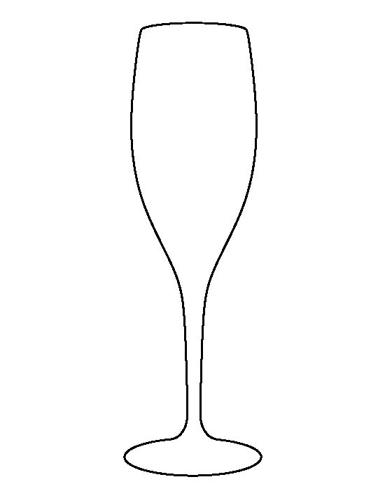 Champagne glass pattern. Use the printable outline for crafts, creating stencils, scrapbooking, and more. Free PDF template to download and print at http://patternuniverse.com/download/champagne-glass-pattern/
