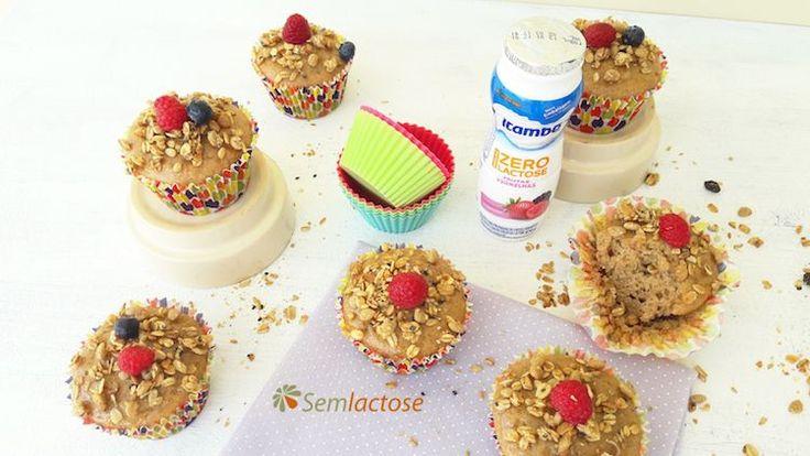 Cupcakes com iogurte zero lactose e granola | Semlactose