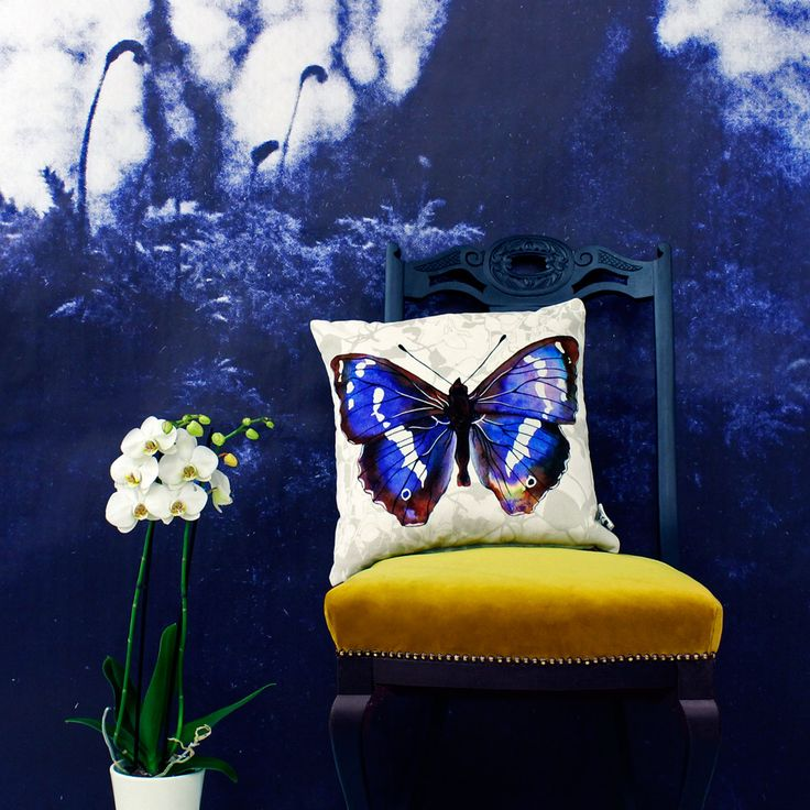 Purple Emperor Butterfly Cushion Terrariumdesigns.co.uk - homeware, colour, pattern, blue, botanical, nature, moody interiors