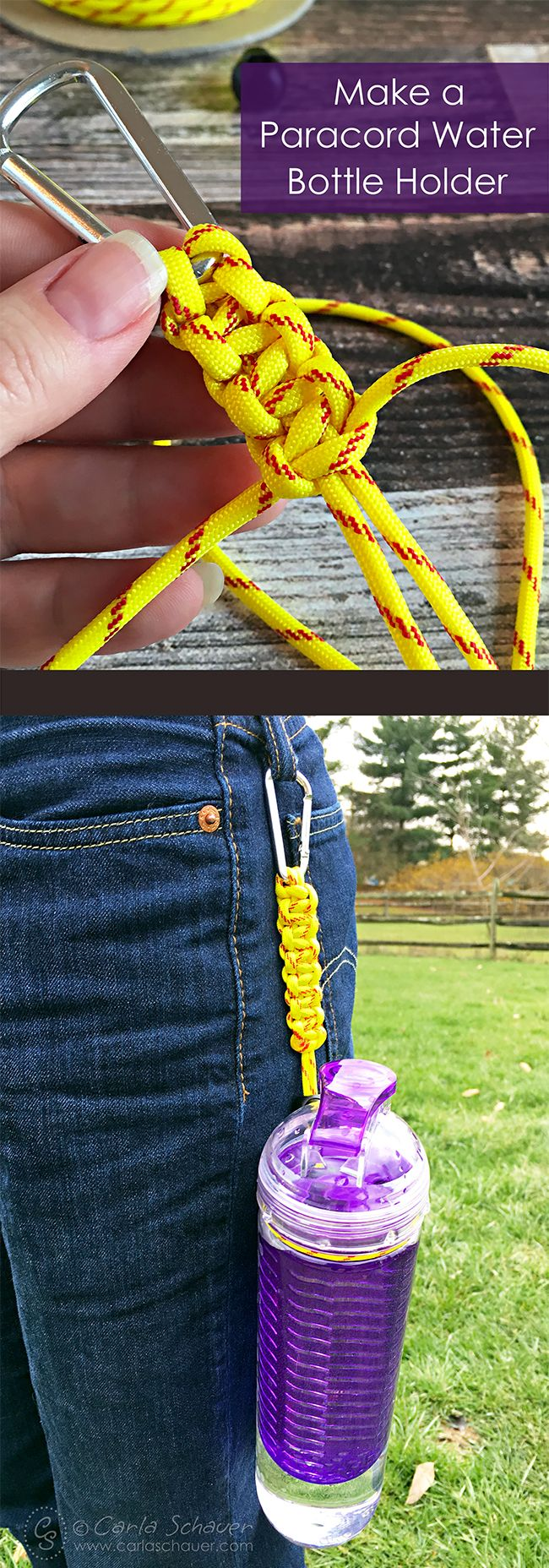 Make a paracord water bottle holder. Use fastpitch paracord for softball, or coordinate with team colors for other sports. Cute and useful! | Tutorial from Carla Schauer Designs (Camping Hacks With Kids)