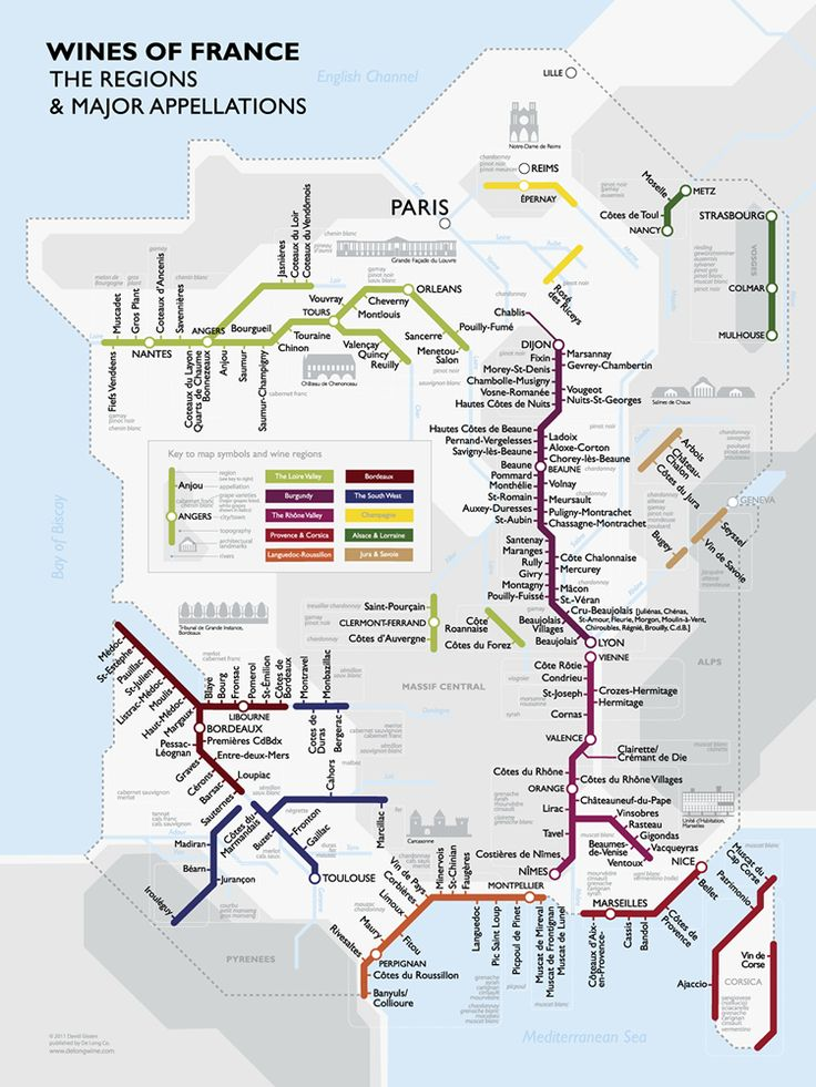 Artsy but useful poster. France's wine regions set in a subway map - reminds me of the Chicago el diagrams!
