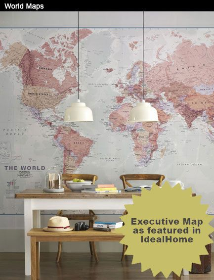 Our Political and Physical World maps can be printed to fit any size space whether it's your wall, floor or window. Extra blue is added to edges that don't quite fit the maps natural proportions. They can be printed onto our standard wallpapers, but for a multi purpose wall why not try our Magnetic Liner underneath so you can use stick magnets to relevant destinations.