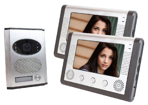 "2 in 1 Video Intercom with Two Color 7"" Monitors and Matching Electronic Lock by Angel. $259.99. This Video Intercom Door Phone includes a professional grade front door security color camera, two-way intercom, doorbell, and door release in one easy to set up system. With two-way communication, a color screen, and night vision, you'll always know who's at your door.You can extend the cable by regular Cat.5 networks cable or use the existing CAT.5 networks cable if it's ..."
