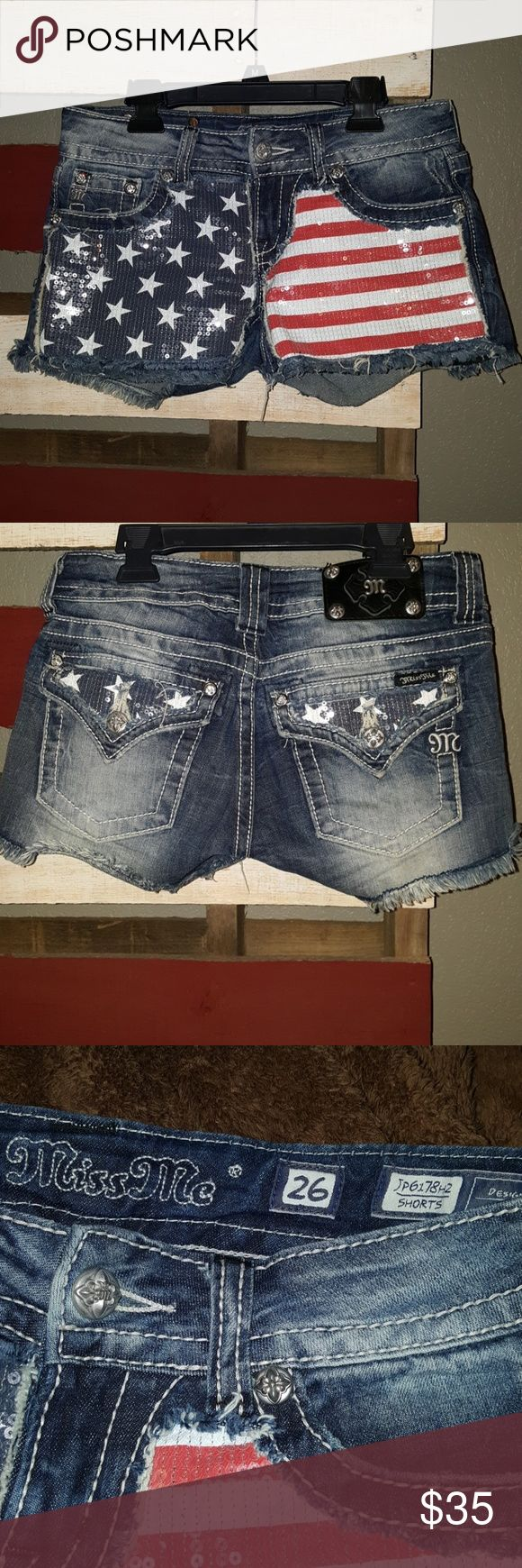 Miss Me American flag shirts, size 26. Miss Me American flag shirts, size 26. Americana, USA. Red, white and blue with clear sequins. Miss Me Shorts Jean Shorts