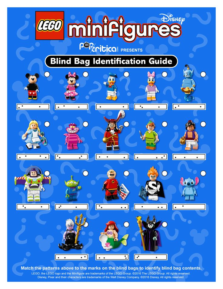 Identification Guide to Lego Disney Minifigure Blind Bag Codes « Pop Critica | Pop Critica