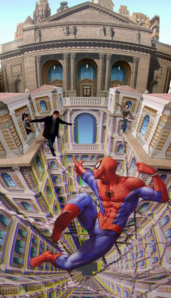 3D pavement art by Kurt Wenner-I can't quite wrap my mind around this one.