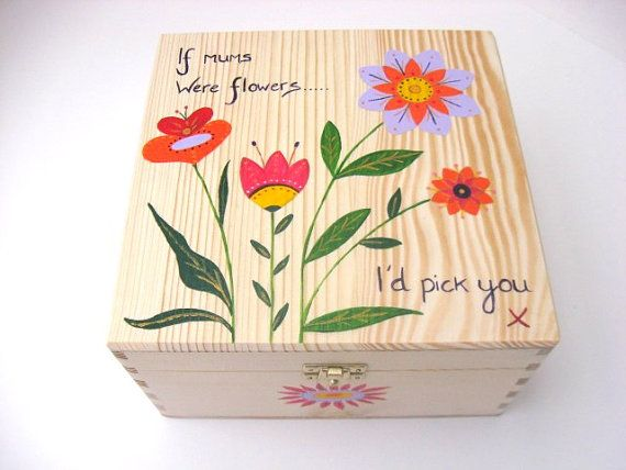Large hand painted wooden memory box with por funkyforesthome