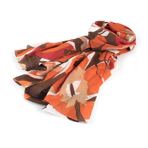SCIARPA PAREO YOKI ROSSO - Graziosa sciarpa pareo con grandi fiori stampati di colore rosso. Composizione: 100% cotone.