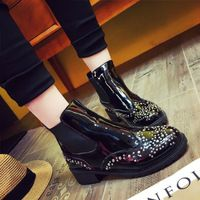 High quality shoes woman boots  Knight Martin boots shoes zapatos botas mujer ankle boots hoof heels fashion thick heel 4232W