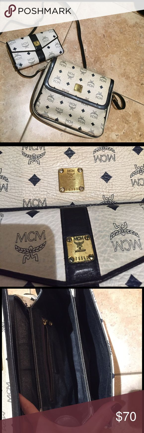 MCM PURSE Authentic Vintage MCM PURSE AND WALLET FOR SALE. Leather is really worn. Comes with dustbag MCM Bags Satchels