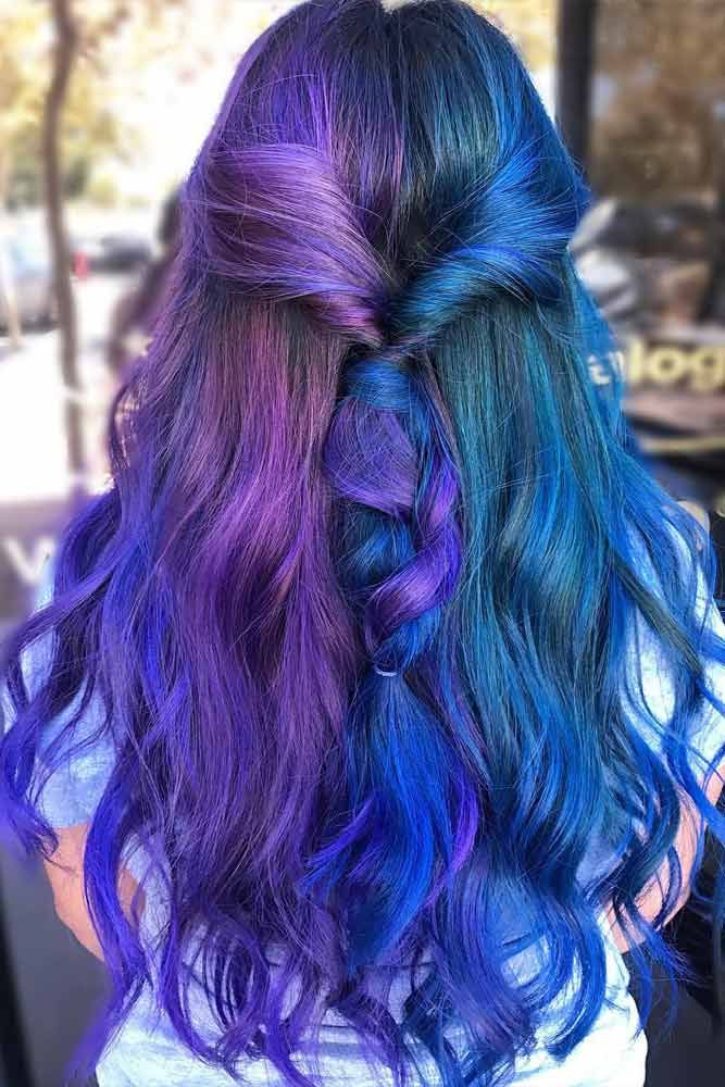 24 Blue And Purple Hair Looks That Will Amaze You Purple Hair Long Hair Styles Brown Ombre Hair Color