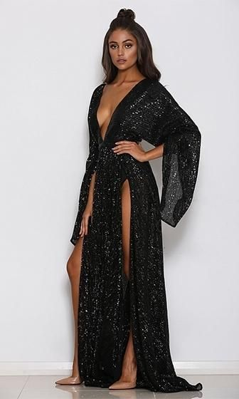 71bcabc9 Speak Your Mind Black Sequin Long Bell Sleeve Plunge V Neck Double Slit  Maxi Dress