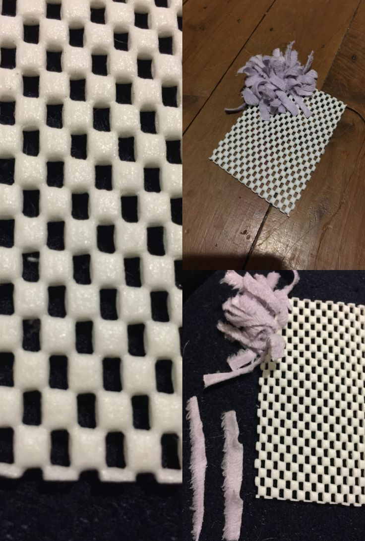 Experimentation with fabric- non slipping may and furry material cut into strips and tied through holes of non slip mat.