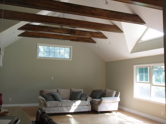 Exposed horizontal beams with drywall ceiling bedroom for Half vaulted ceiling with beams