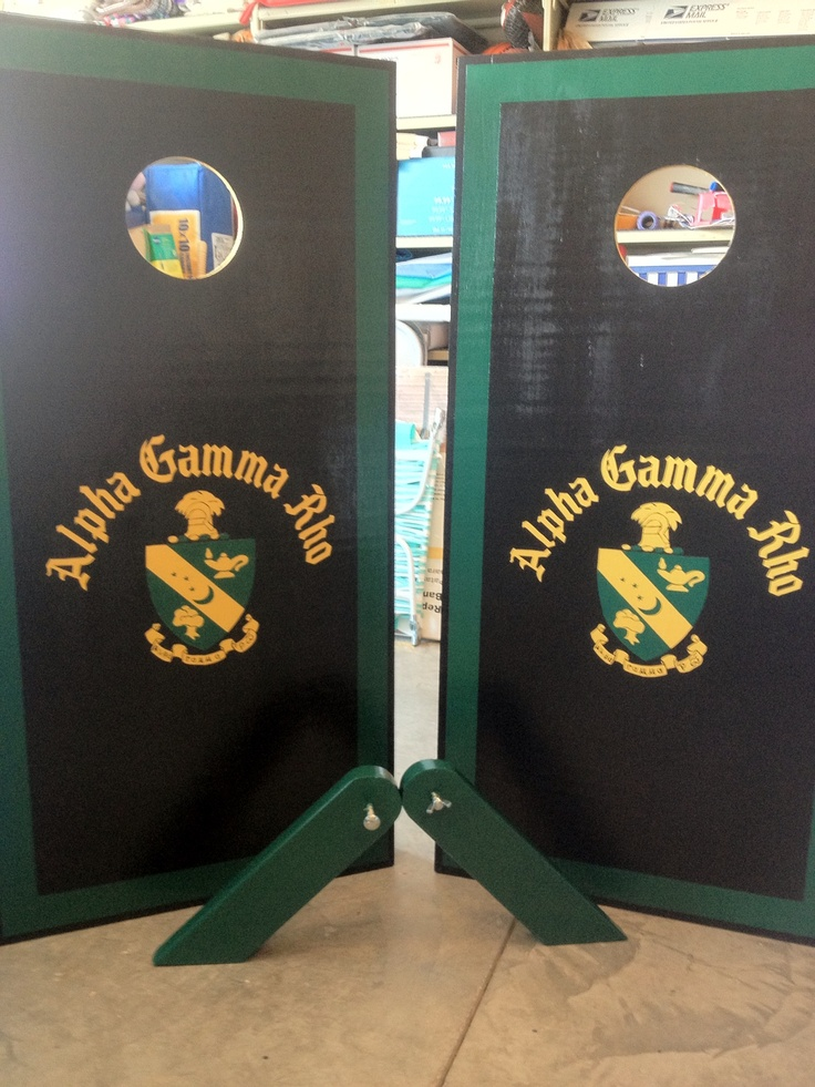 Alpha Gamma Rho corn hole set. Check www.facebook.com/fishscustoms for more and custom order information