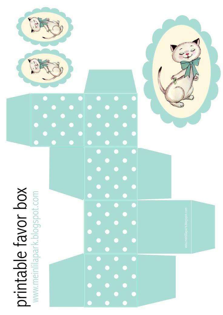 Free printable polka dot box and kitty tag - ausdruckbare Geschenkbox - freebie | MeinLilaPark – digital freebies