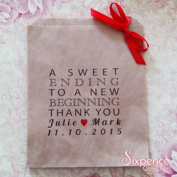 Personalised A Sweet Ending Thank You Kraft Brown Paper Candy