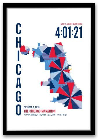 The perfect gift for a Chicago Marathoner. Personalize this Chicago Marathoner Map with your marathon runner's...