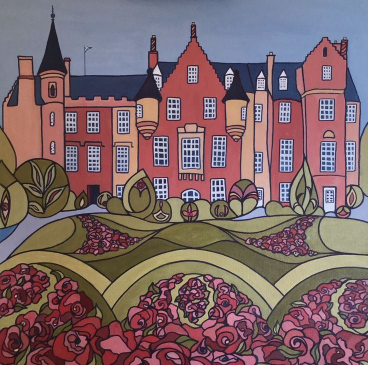 Carberry tower was the setting for my commissioners brother's wedding. The wedding date is secretly positioned within the painting and the couple wanted the rose garden to feature in the foreground.