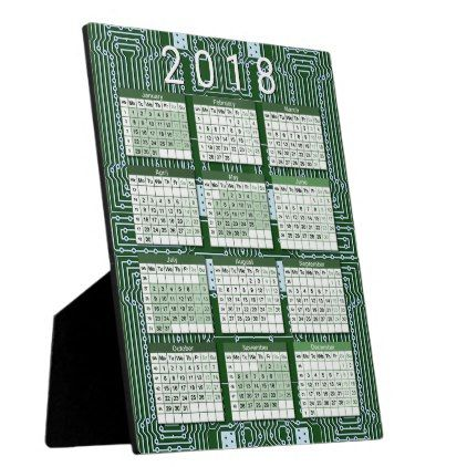 Funny Nerd Computer Circuit Board Pattern Calendar Plaque - patterns pattern special unique design gift idea diy