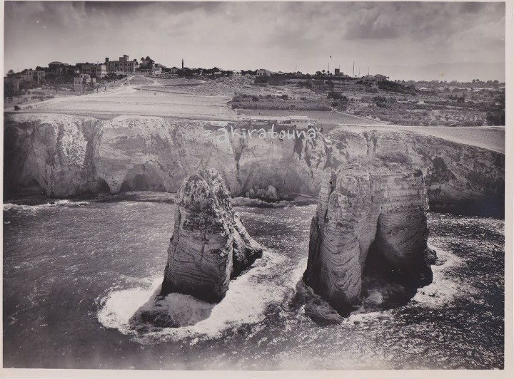 Pigeon Rocks Beirut Lebanon. Photo taken by 39th air force division of the French Levant army -1926. Not developed at all